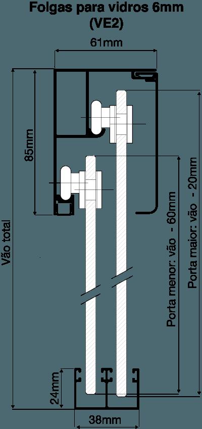 Folgas para Vidros de 6mm - VE2