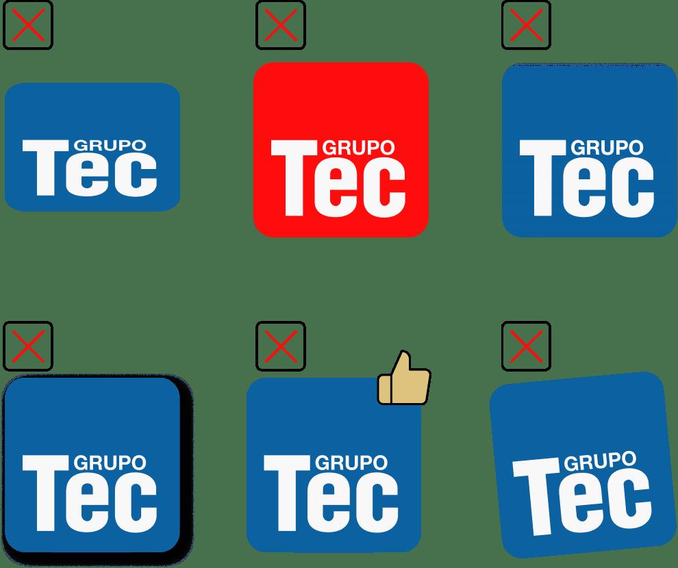 Usos incorretos Logo Grupo Tec